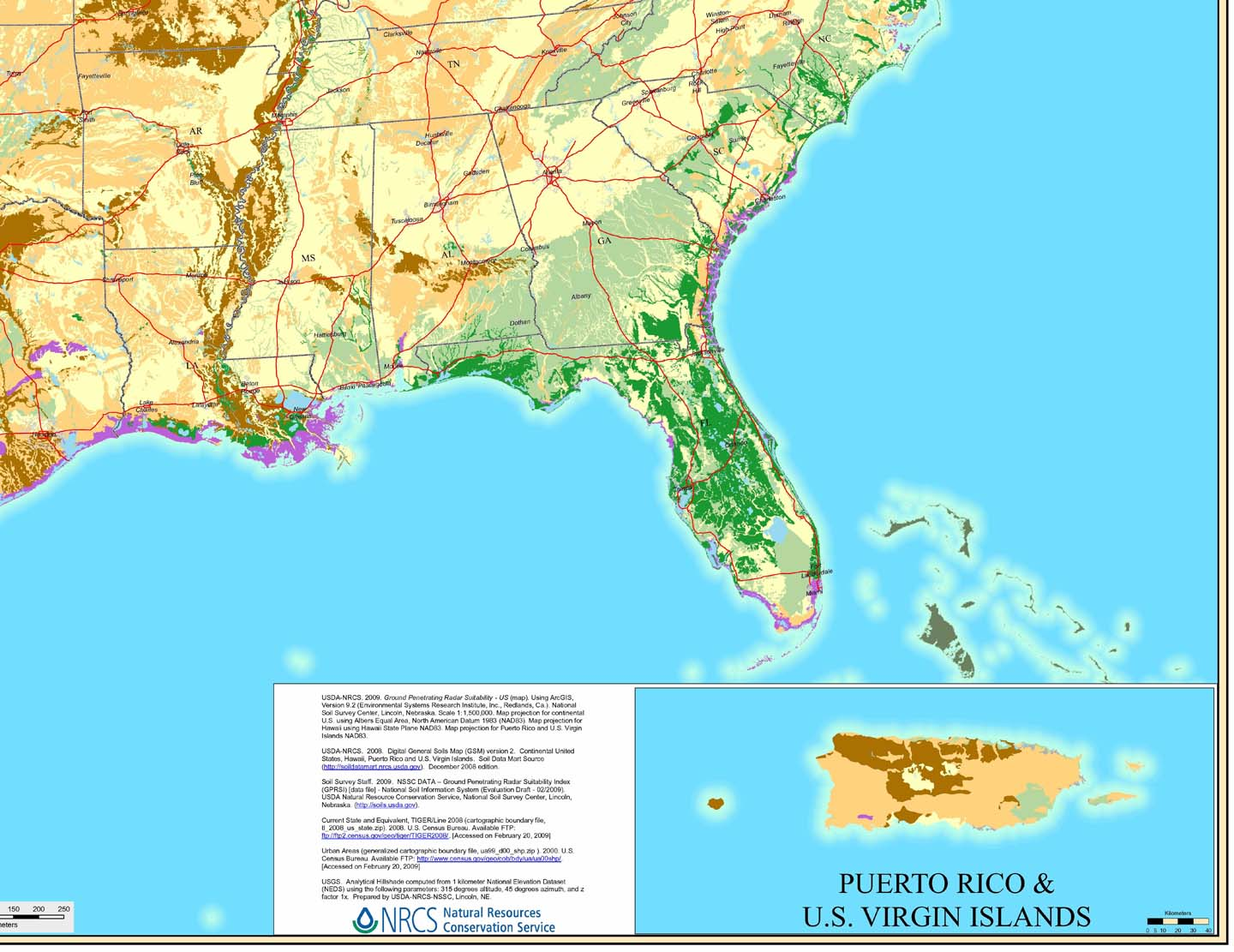 Where does GPR work see GPR Soils Map of SE U.S.
